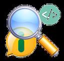 Desenho de uma lupa ampliando a imagem de um balão na cor amarela com o símbolo da informação (letra i) na cor verde